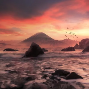 Захід сонця над морем в Adobe Photoshop